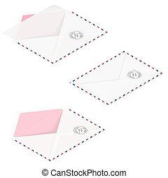 Envelopes detailed isometric icon set