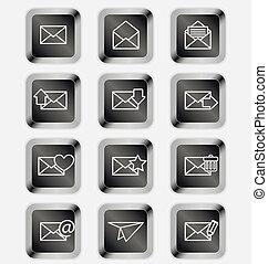Envelopes for email icons on black keyboard