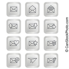 Envelopes for email icons on keyboard buttons