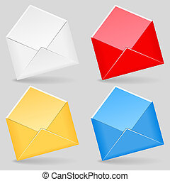 Open envelopes, vector eps10 illustration