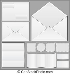 Envelopes, paper and postage stamps