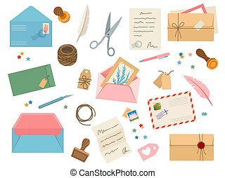 Envelopes with postmarks. Vintage paper mail letters with postage stamp, cards, sealing wax, scissors, twine, tags and pens. Post vector set