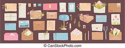 Envelopes with postmarks. Vintage paper mail letters with postage stamp, cards, sealing wax, scissors, twine, tags and pens. Post vector set of envelope and postcard for correspondence illustration