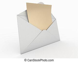 enveloppe, 3d, letter., vide, mail.