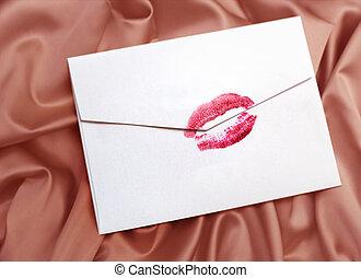 enveloppe, baiser rouge lèvres