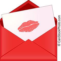 enveloppe, baiser rouge lèvres, rouges