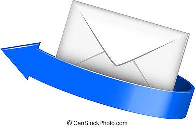 enveloppe bleue, flèche