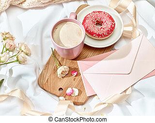 enveloppe, concept, lettre amour, table
