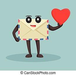 enveloppe, conception, amour, tenue, illustration