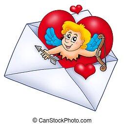 enveloppe, cupidon, valentin