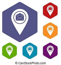 enveloppe, ensemble, signe, emplacement, marqueur, icônes