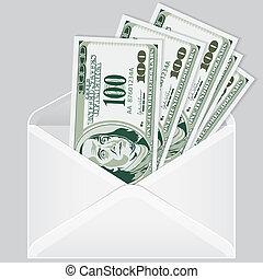 enveloppe, factures, ouvert, dollar
