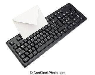 enveloppe, isolé, intérieur., informatique, white., clavier, courrier