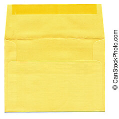 enveloppe, isolé, jaune