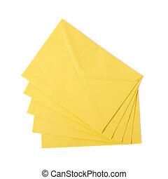 enveloppe, jaune, lettre, isolé