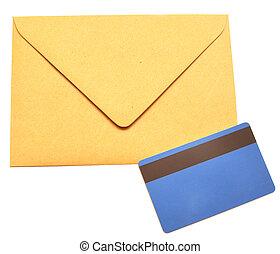 enveloppe, met, een, plastice kaart