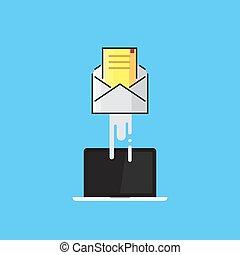 enveloppe, mouches, dehors, de, les, laptop., e-mail, envoie e-mail commercialisation, internet, publicité, concepts., plat, conception, vecteur, illustration
