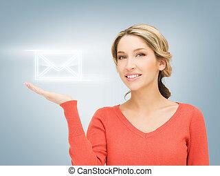 enveloppe, paume, virtuel