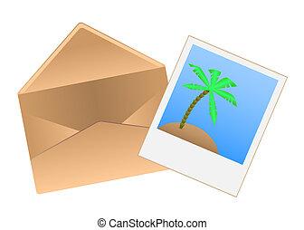 enveloppe, polaroid, photo