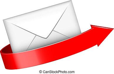 enveloppe, rode pijl