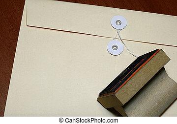 enveloppe, rubberstempel