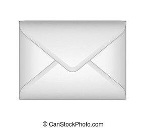 enveloppe, -, scellé, courrier, poste, blanc
