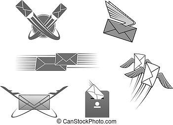 enveloppe, vecteur, lettre, courrier, poste, postal, icône