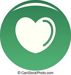 envenenado, corazón, icono, vector, verde