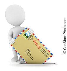 enviando, branca, 3d, correio, pessoas