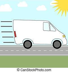 enviando, furgão, serviço correio, -, rapidamente, montando,...