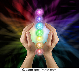 enviando, sete, energia, chakras, vórtice, cura