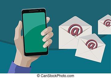 enviando, smartphone, múltiplo, e-mais