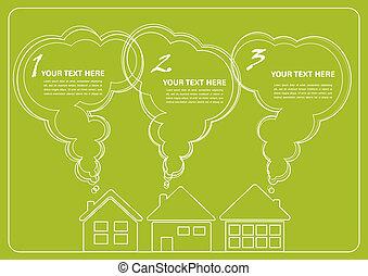 enviroment, infographics, 緑, きれいにしなさい, 村