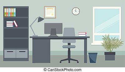 environment., ベクトル, デザイン, illustration., オフィス