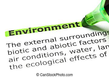'environment', 강조된다, 녹색