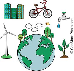 Environment and ecology icons set