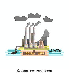 Environment and nature industrial factory carbon waste pollution vector