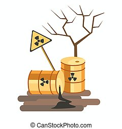 Environment and nature industrial pollution chemical waste problem vector
