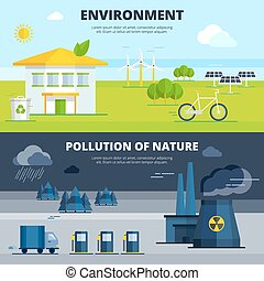 Environment And Pollution Banners Set - Environment and...