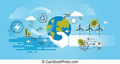 Environment and renewable energy - Flat line design website...