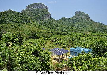 environment., cellules solaires, exotique