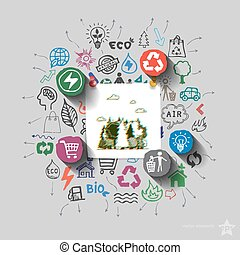 Environment collage with icons background