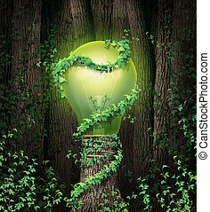 Environment conservation concept with a tree forest and a trunk shaped as an illuminated green lightbulb as a climate metaphor and symbol for renewable energy and global environmental protection and inspiration.
