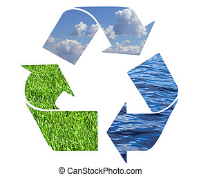 environment conceptual recycling symbol isolated on white