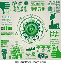 Environment, ecology infographic elements. Environmental...