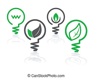 environment green light bulb icons - set of environment...