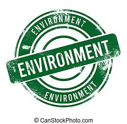 Environment - green round grunge button, stamp