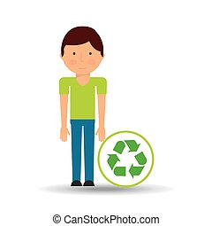 environment icon boy with recycle symbol
