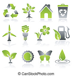 Environment Icons - Collect Environment Icon with Tree,...