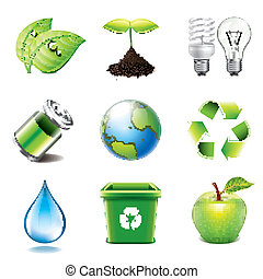Environment icons photo-realistic vector set